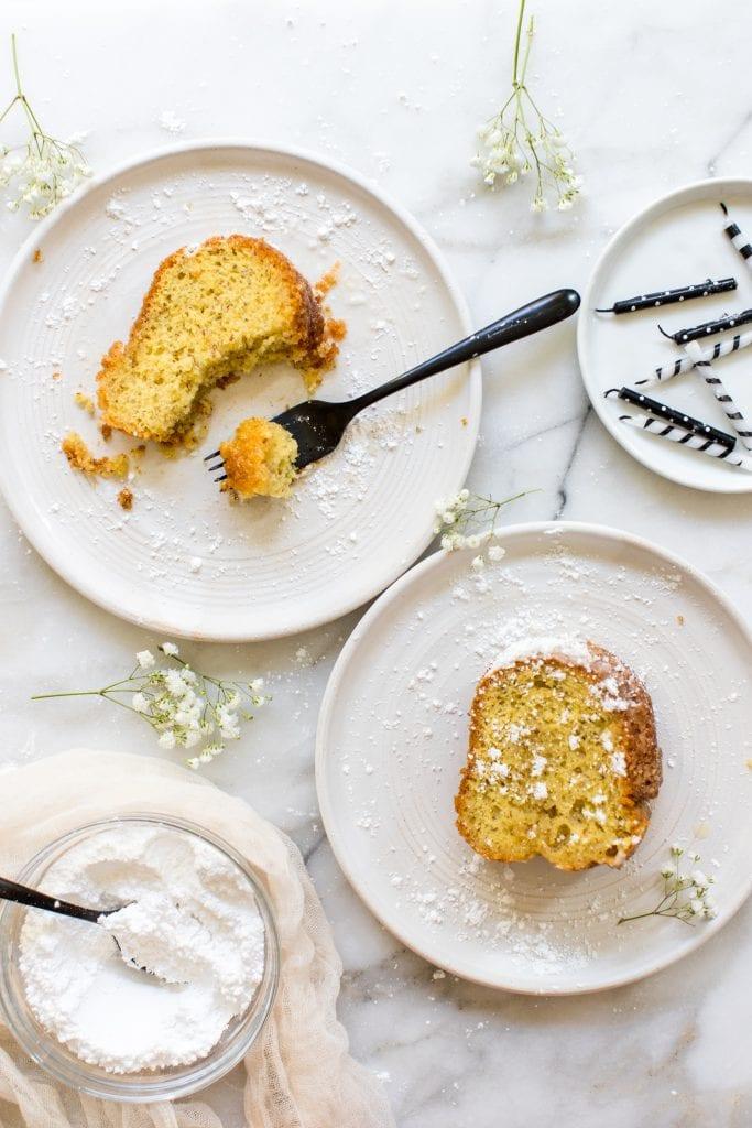 Bacardi rum cake on white plates