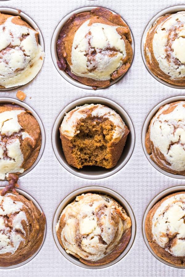 pumpkin muffins in a muffin tin