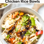 teriyaki chicken rice bowls in the instant pot made with Jasmine rice in a white bowl