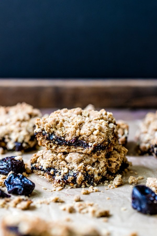 prune oatmeal bars on parchment paper