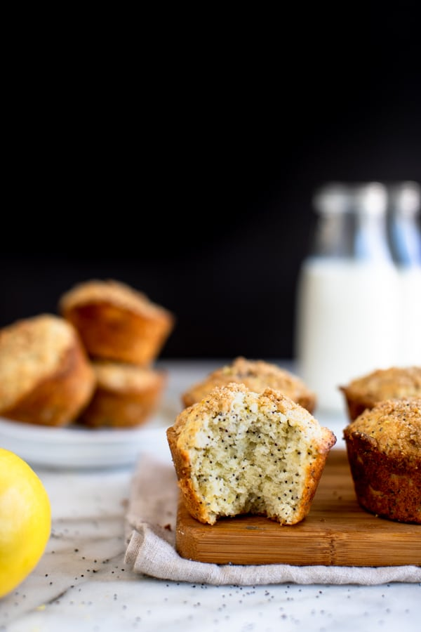 lemon poppyseed muffins on a cutting board
