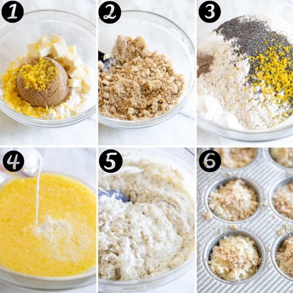 step by step photos of how to make lemon poppyseed muffins