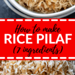 rice pilaf in a white bowl