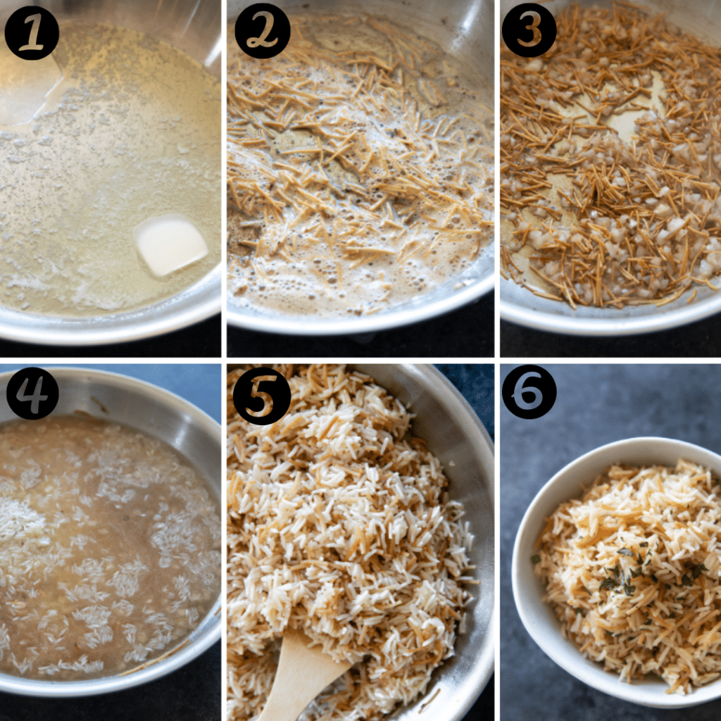 step by step photos of how rice pilaf is made from melting butter to toasting the rice