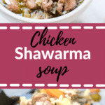 chicken soup with shawarma seasoning in a white bowl