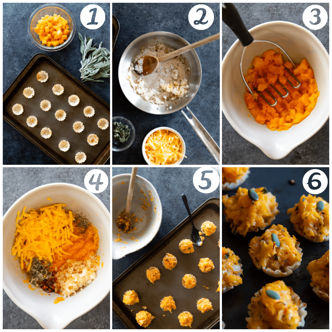 A 7 ingredient appetizer - phyllo dough is filled with butternut squash, sage, cheese and spices.