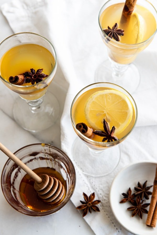 a hot toddy in glasses