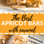 apricot bars made with coconut and drizzled with caramel sauce