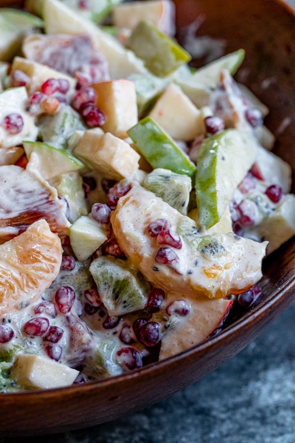 A close up of a bowl of fruit salad