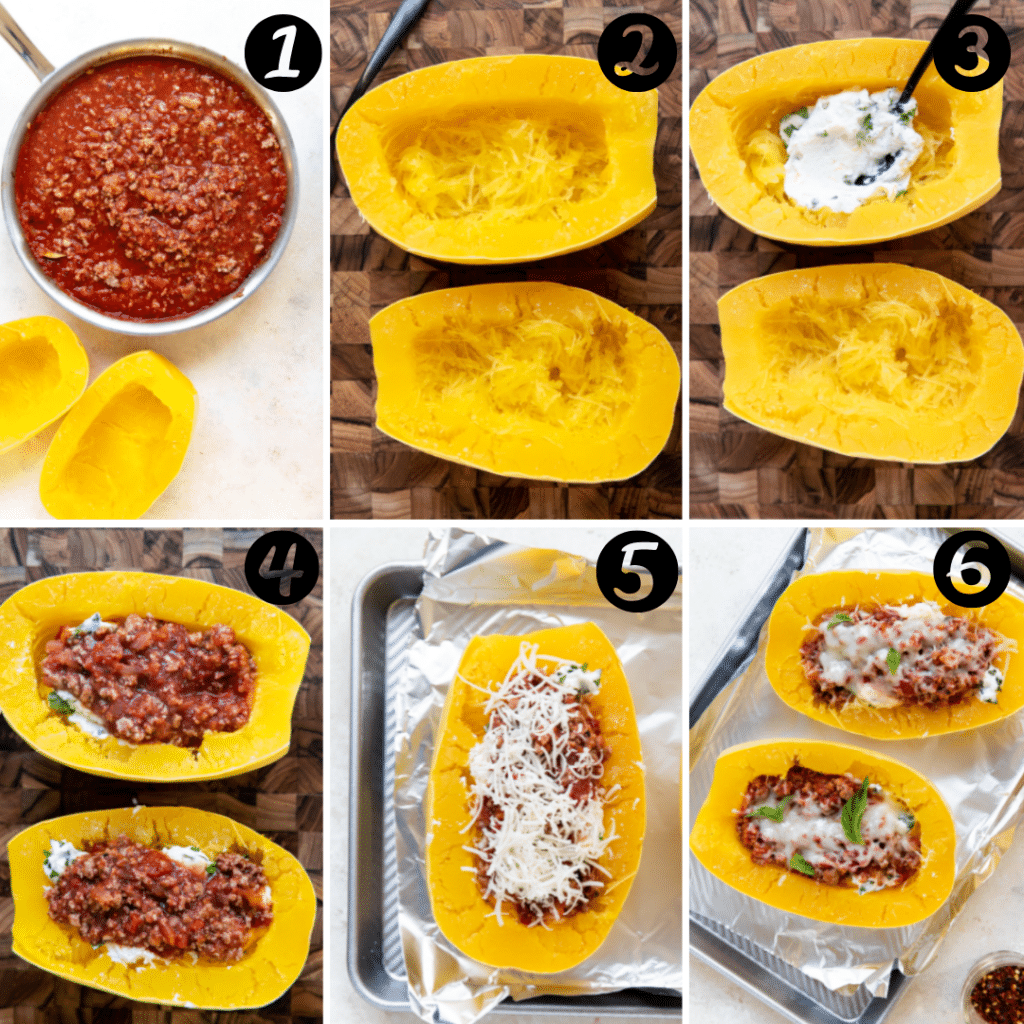 spaghetti squash filled with ground turkey, red sauce and ricotta cheese