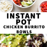 chicken burrito bowls in a white bowl