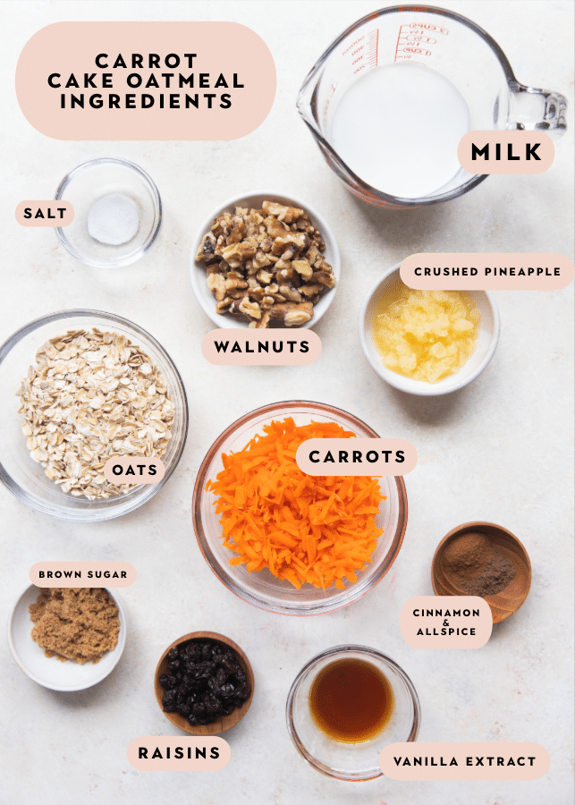all of the ingredients in small bowls needed to make carrot cake oats