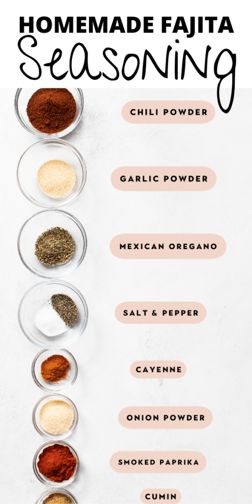 all of the spices you need to make homemade fajita seasoning