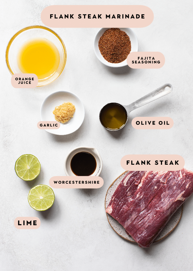 all of the ingredients you need to make a flank steak marinade