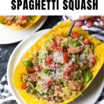spaghetti squash with pesto in a white bowl