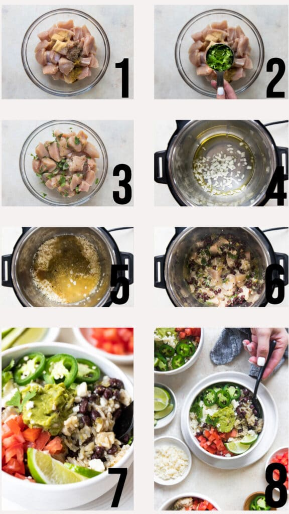 step by step photos of how to make instant pot chicken burrito bowls