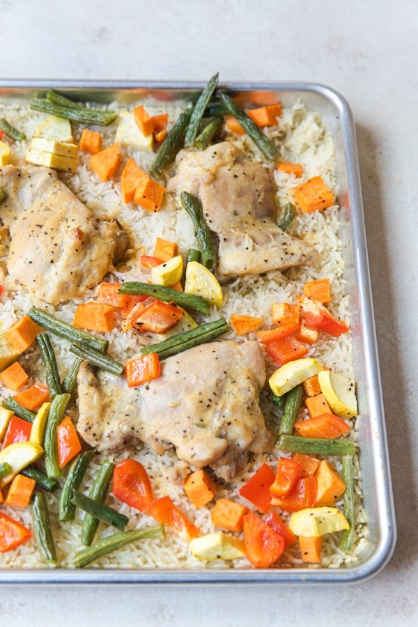 sheet pan chicken, rice and veggies