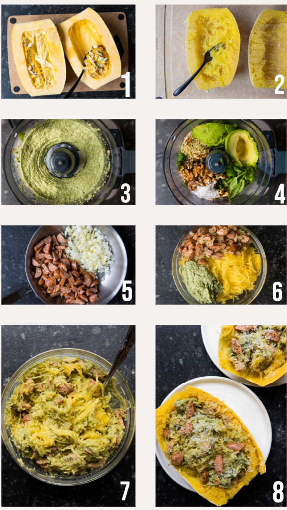 step by step photos of how to make pesto spaghetti squash