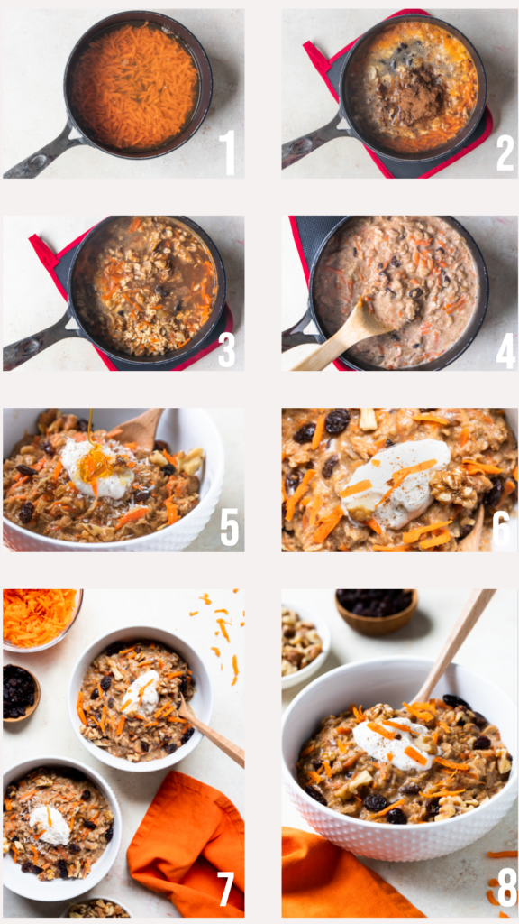 step by step photos of how to make carrot cake oatmeal
