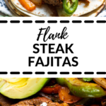 flank steak fajitas with a flour tortilla topped with cilantro