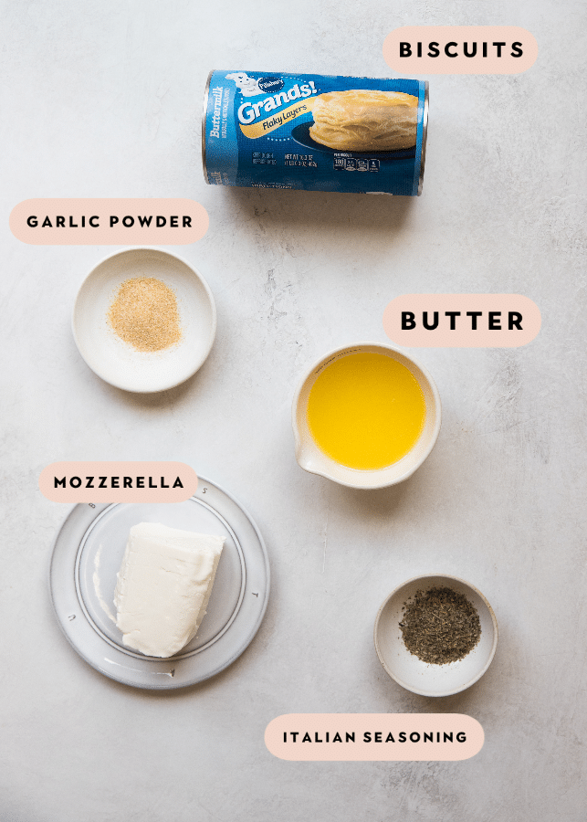 ingredients needed to make garlic herb cheese bread