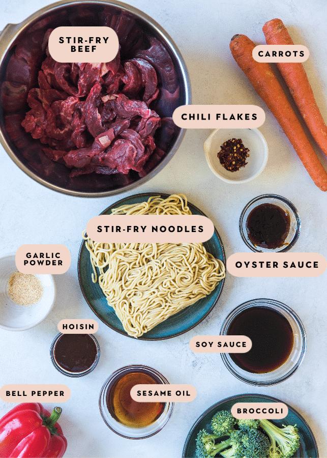 ingredients in glass bowls needed to make beef veggie stir fry