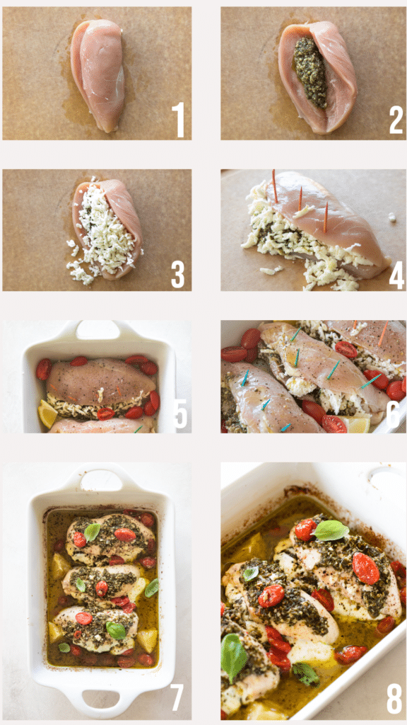 step by step photos of pesto baked chicken