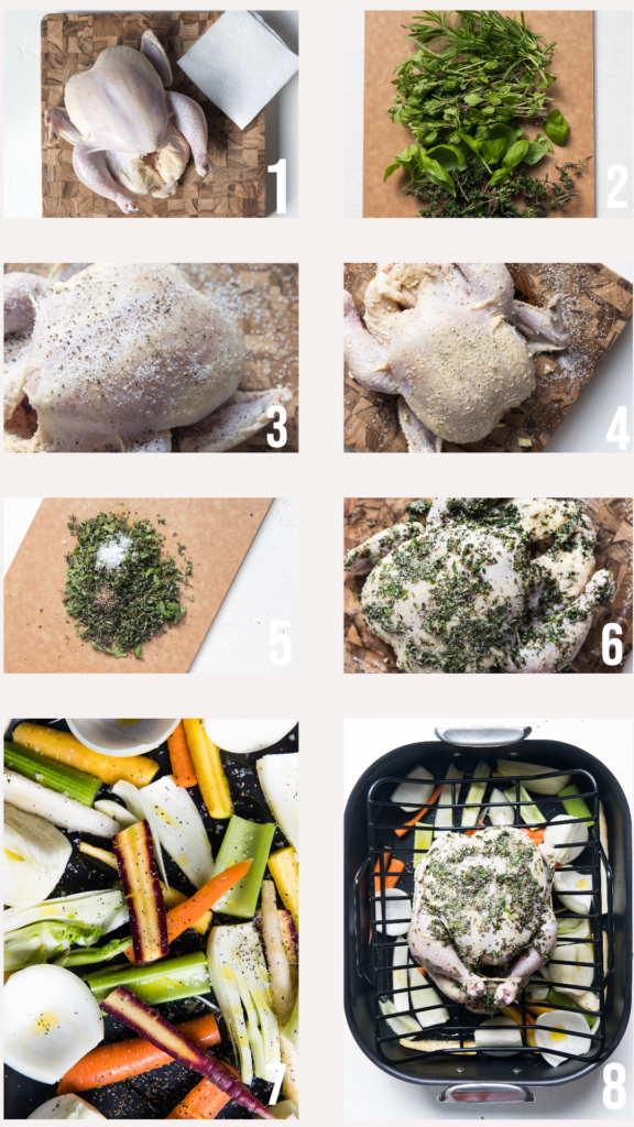 step by step photos of how to prepare a chicken to be roasted