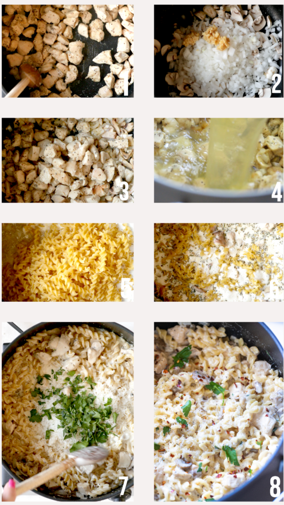 step by step photos of how to make chicken marsala pasta