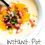 instant pot baked potato soup in a white bowl