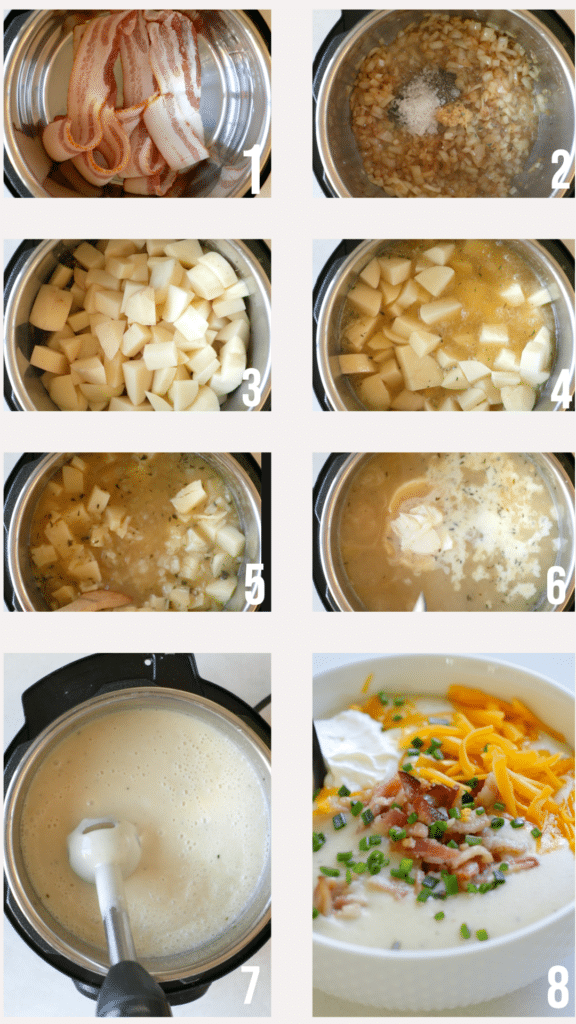 an instant pot with step by step photos of how to make potato soup