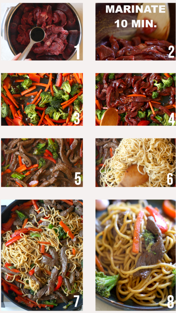 step by step photos of how to make a stir fry beef with noodles recipe