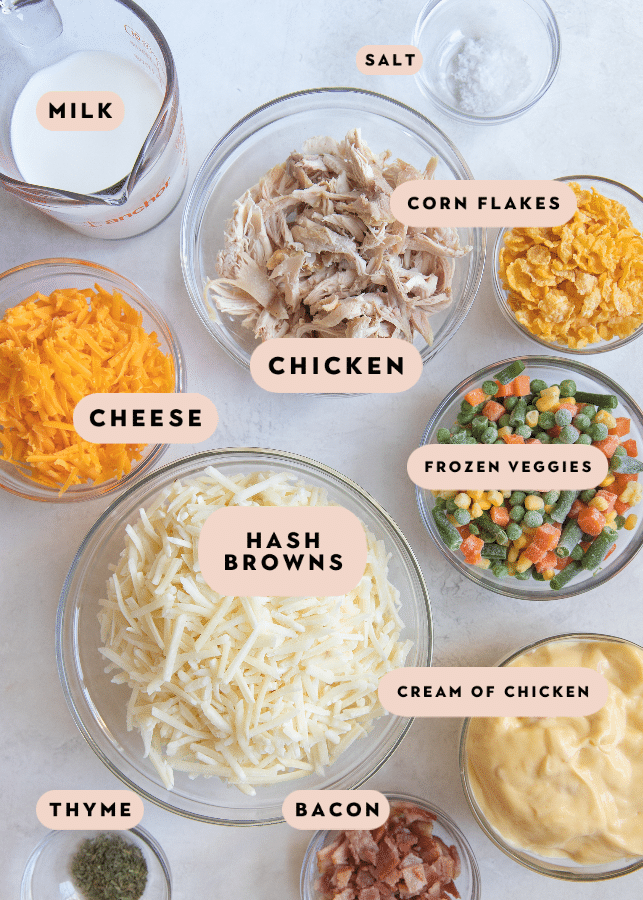 all of the ingredients needed to make hash brown chicken casserole