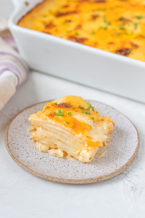 cheesy scalloped potatoes on a plate