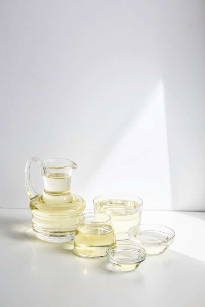 glass containers filled with soybean oil