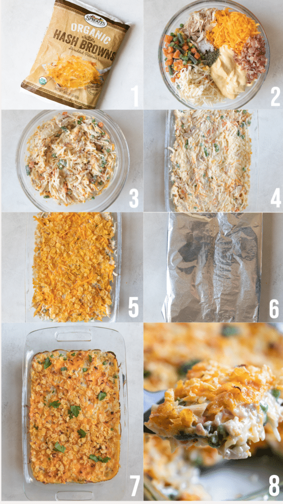 step by step photos of how to make hash brown chicken casserole