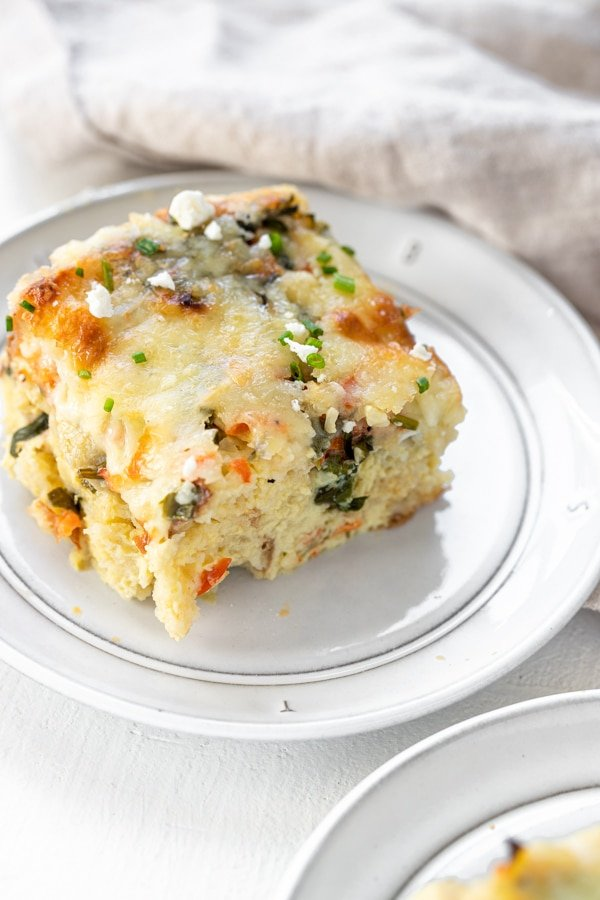 egg casserole on a white plate