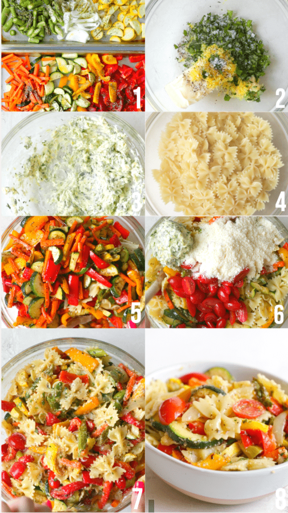 step by step photos of how to make healthy pasta primavera