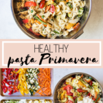 healthy pasta primavera in a white bowl