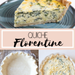 quiche florentine on a blue plate