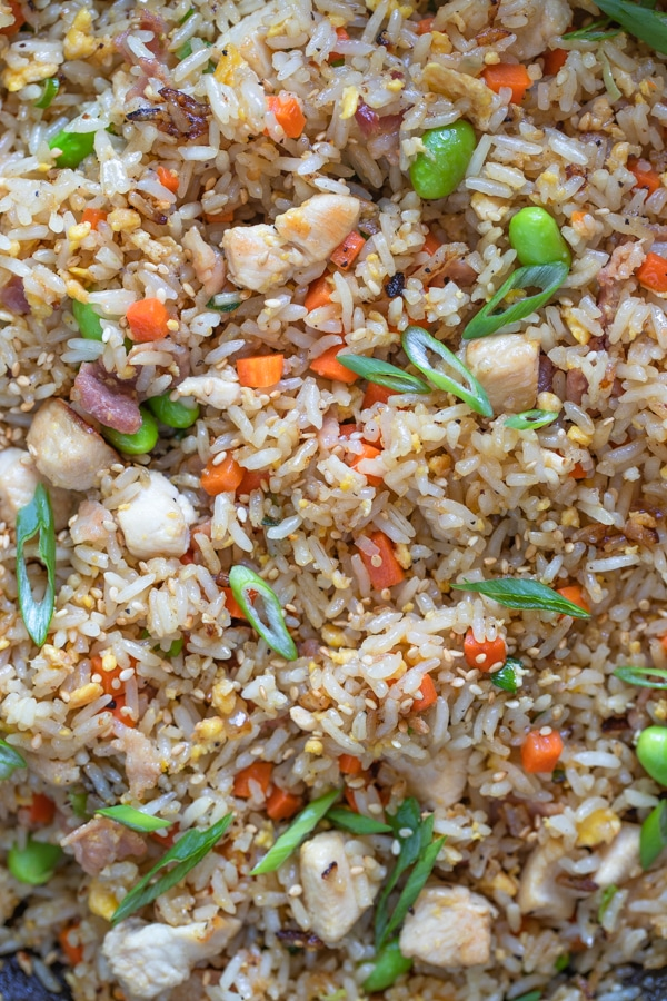 chicken fried rice with scallions