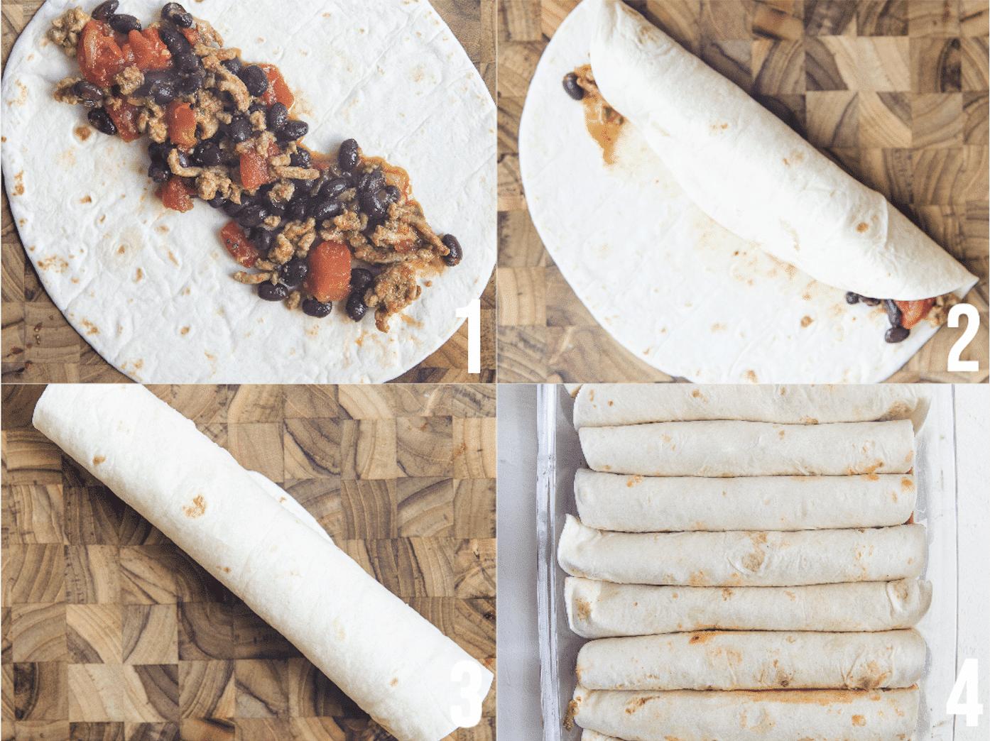 how to roll enchiladas using a flour tortilla