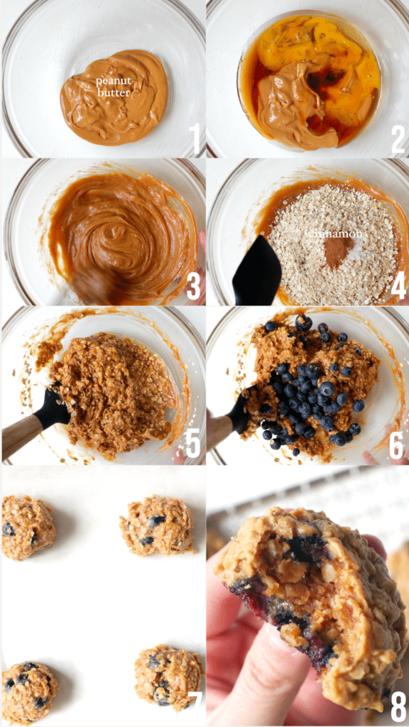 step by step photos of making blueberry peanut butter cookies
