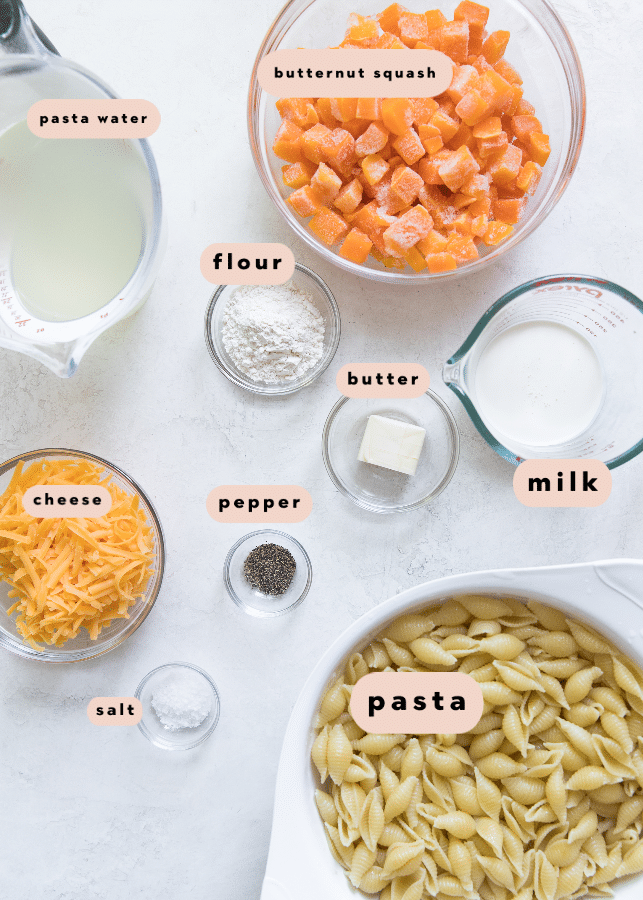 ingredients needed to make butternut squash mac and cheese