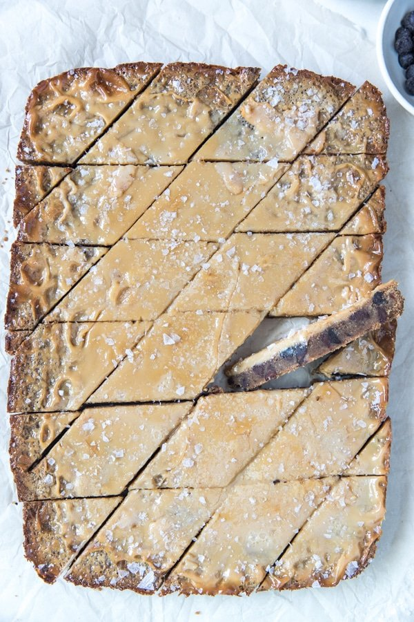 cookie bars with sea salt on top