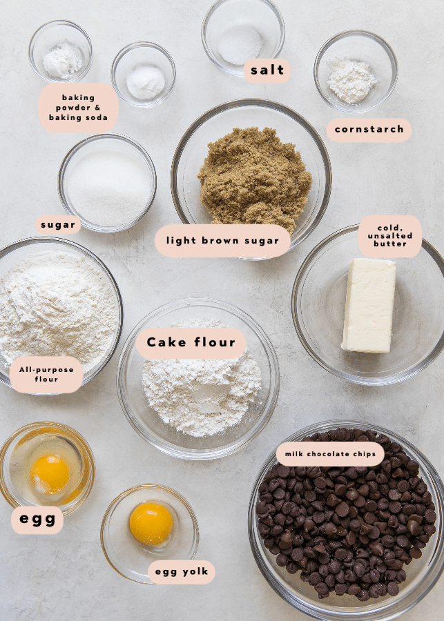 all of the ingredients needed to make giant chocolate chip cookies