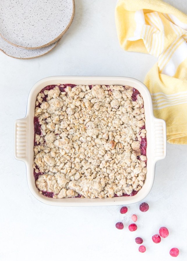 cranberry oatmeal bars in a baking dish