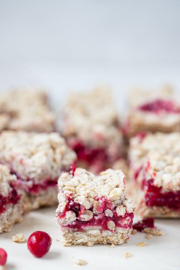 close up of a cranberry oatmeal bar