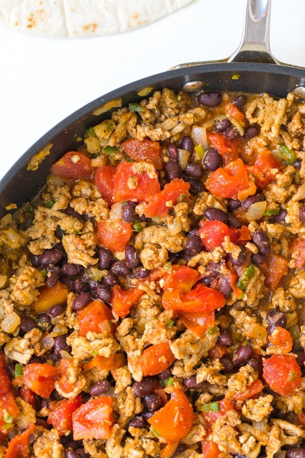 ground turkey black bean enchilada meat filling