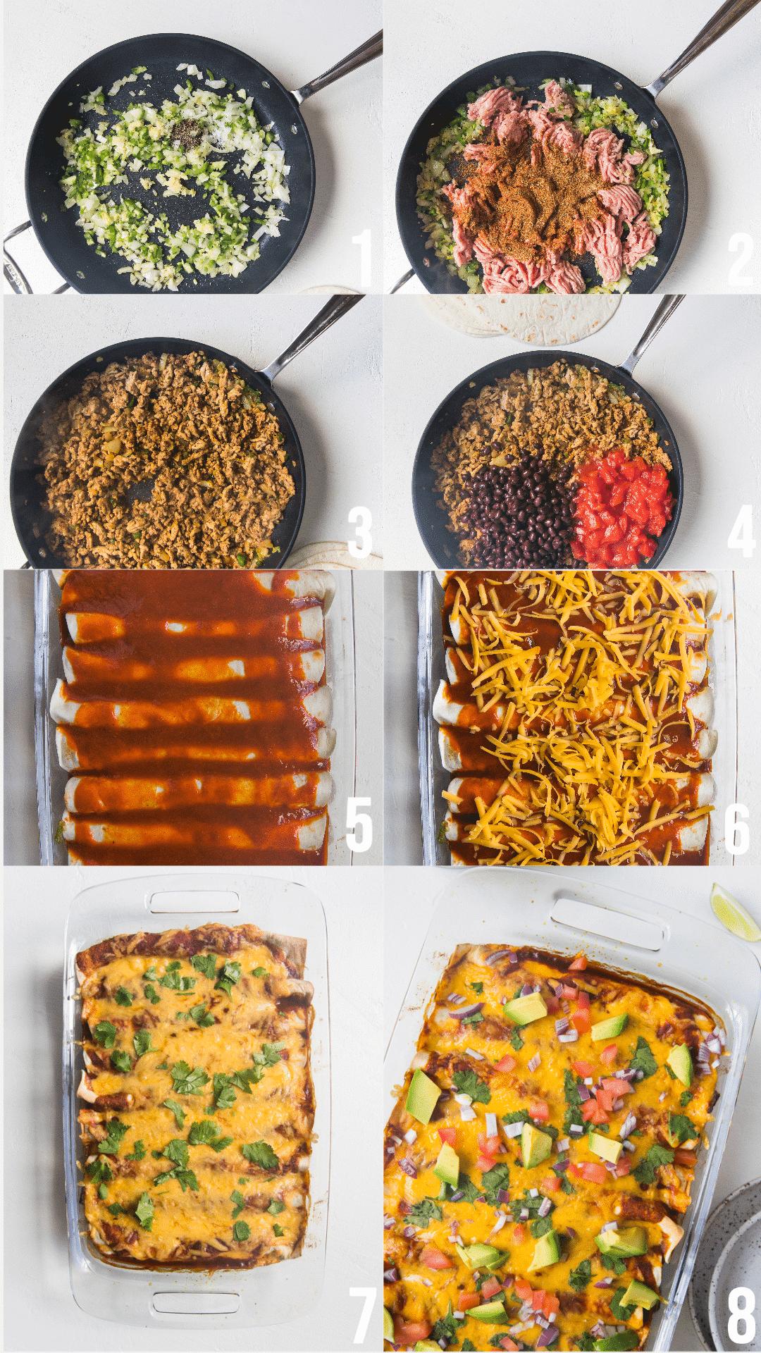 step by step photos of making ground turkey black bean enchiladas